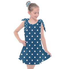 Polka Dot - Turquoise  Kids  Tie Up Tunic Dress by WensdaiAmbrose