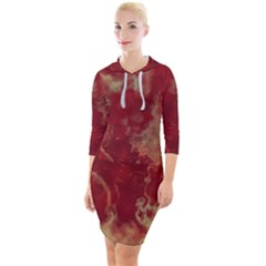 Marble Red Yellow Background Quarter Sleeve Hood Bodycon Dress by Jojostore