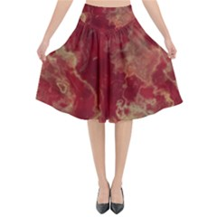Marble Red Yellow Background Flared Midi Skirt