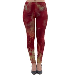 Marble Red Yellow Background Lightweight Velour Leggings by Jojostore