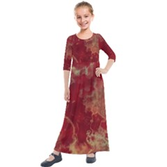 Marble Red Yellow Background Kids  Quarter Sleeve Maxi Dress by Jojostore