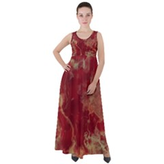 Marble Red Yellow Background Empire Waist Velour Maxi Dress by Jojostore