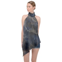 Marble Surface Texture Stone Halter Asymmetric Satin Top by Jojostore