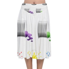 Paint Cans Velvet Flared Midi Skirt by Jojostore