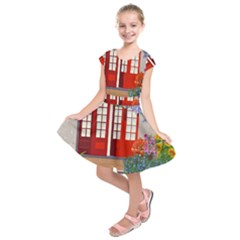 Garden Flowers Nature Red Pink Kids  Short Sleeve Dress by Jojostore
