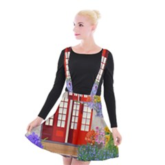 Garden Flowers Nature Red Pink Suspender Skater Skirt