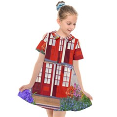 Garden Flowers Nature Red Pink Kids  Short Sleeve Shirt Dress