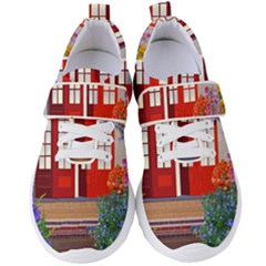 Garden Flowers Nature Red Pink Women s Velcro Strap Shoes