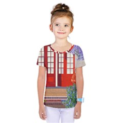 Garden Flowers Nature Red Pink Kids  One Piece Tee