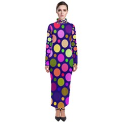 Circle District Colorful Structure Turtleneck Maxi Dress by Jojostore