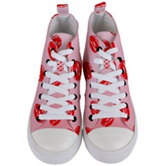 Love Shape Romance Abstract Women s Mid Top Canvas Sneakers