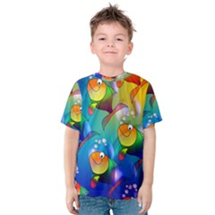 Abstract Fish Background Backdrop Kids  Cotton Tee