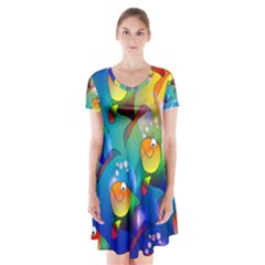Abstract Fish Background Backdrop Short Sleeve V Neck Flare Dress by Jojostore