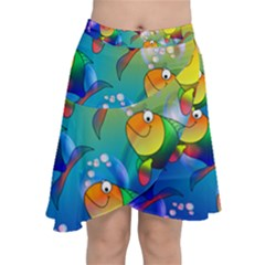 Abstract Fish Background Backdrop Chiffon Wrap Front Skirt
