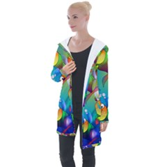 Abstract Fish Background Backdrop Longline Hooded Cardigan by Jojostore