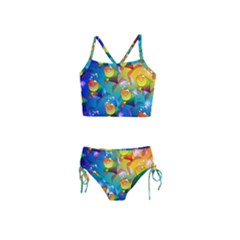 Abstract Fish Background Backdrop Girls  Tankini Swimsuit