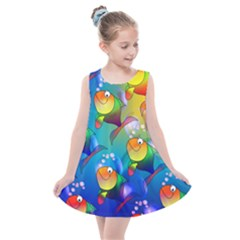 Abstract Fish Background Backdrop Kids  Summer Dress by Jojostore