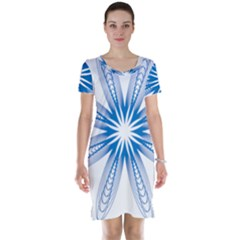 Spirograph Blue Circle Geometric Short Sleeve Nightdress