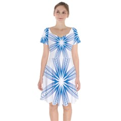 Spirograph Blue Circle Geometric Short Sleeve Bardot Dress by Jojostore