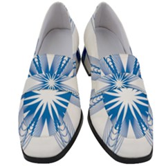 Spirograph Blue Circle Geometric Women s Chunky Heel Loafers