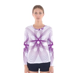 Spirograph Purple Circle Geometric Women s Long Sleeve Tee by Jojostore