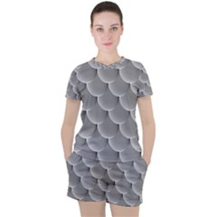 Scallop Fish Scales Scalloped Women s Tee And Shorts Set by Jojostore