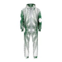Spirograph Green Circle Geometric Hooded Jumpsuit (kids)