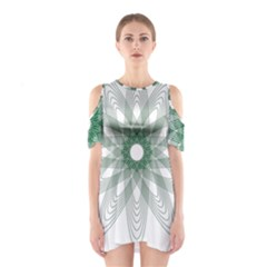 Spirograph Green Circle Geometric Shoulder Cutout One Piece Dress