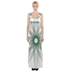 Spirograph Green Circle Geometric Maxi Thigh Split Dress by Jojostore