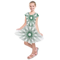 Spirograph Green Circle Geometric Kids  Short Sleeve Dress by Jojostore