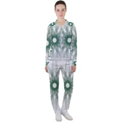 Spirograph Green Circle Geometric Casual Jacket And Pants Set