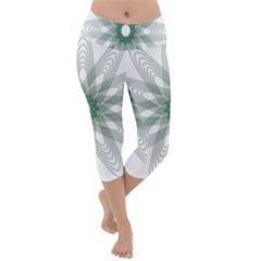 Spirograph Green Circle Geometric Lightweight Velour Capri Yoga Leggings by Jojostore