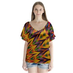 Background Abstract Texture Chevron V Neck Flutter Sleeve Top