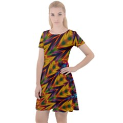 Background Abstract Texture Chevron Cap Sleeve Velour Dress
