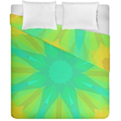Kaleidoscope Background Green Duvet Cover Double Side (california King Size)