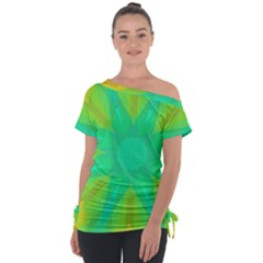 Kaleidoscope Background Green Tie Up Tee by Mariart