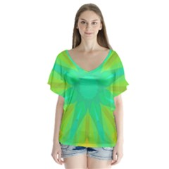 Kaleidoscope Background Green V Neck Flutter Sleeve Top