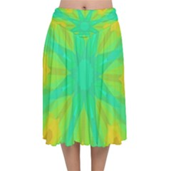 Kaleidoscope Background Green Velvet Flared Midi Skirt by Mariart
