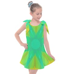 Kaleidoscope Background Green Kids  Tie Up Tunic Dress by Mariart