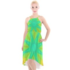 Kaleidoscope Background Green High-low Halter Chiffon Dress