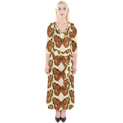 Butterflies Insects Quarter Sleeve Wrap Maxi Dress