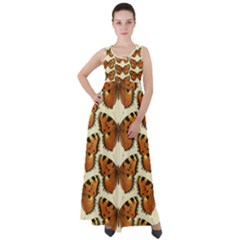 Butterflies Insects Empire Waist Velour Maxi Dress