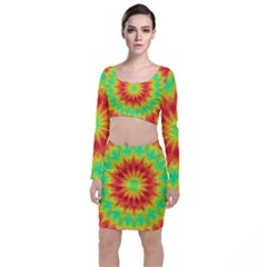 Kaleidoscope Background Mandala Red Green Top And Skirt Sets