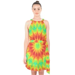 Kaleidoscope Background Mandala Red Green Halter Collar Waist Tie Chiffon Dress by Mariart