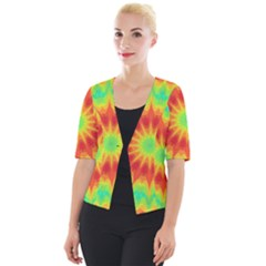 Kaleidoscope Background Mandala Red Green Cropped Button Cardigan by Mariart