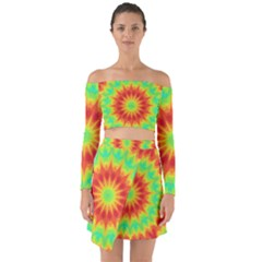 Kaleidoscope Background Mandala Red Green Off Shoulder Top With Skirt Set