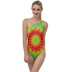 Kaleidoscope Background Mandala Red Green To One Side Swimsuit by Mariart