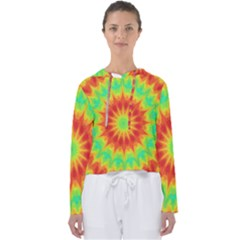 Kaleidoscope Background Mandala Red Green Women s Slouchy Sweat