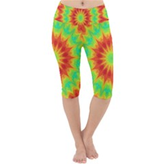 Kaleidoscope Background Mandala Red Green Lightweight Velour Cropped Yoga Leggings