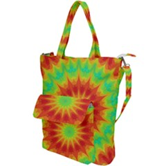 Kaleidoscope Background Mandala Red Green Shoulder Tote Bag by Mariart